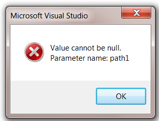 TDS Error in Visual Studio:  Value cannot be null. Parameter name: path1
