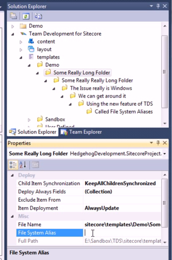 TDS error:  The specified path, file name, or both are too long.