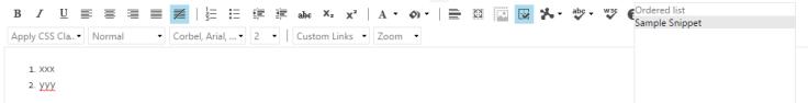 ol li using html code snippet